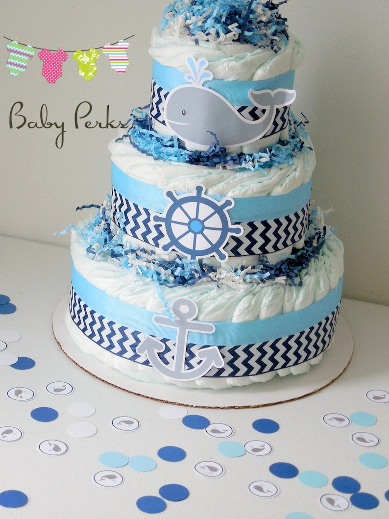 Nautical Baby Shower Centerpieces Nautical Diaper Cake Etsy