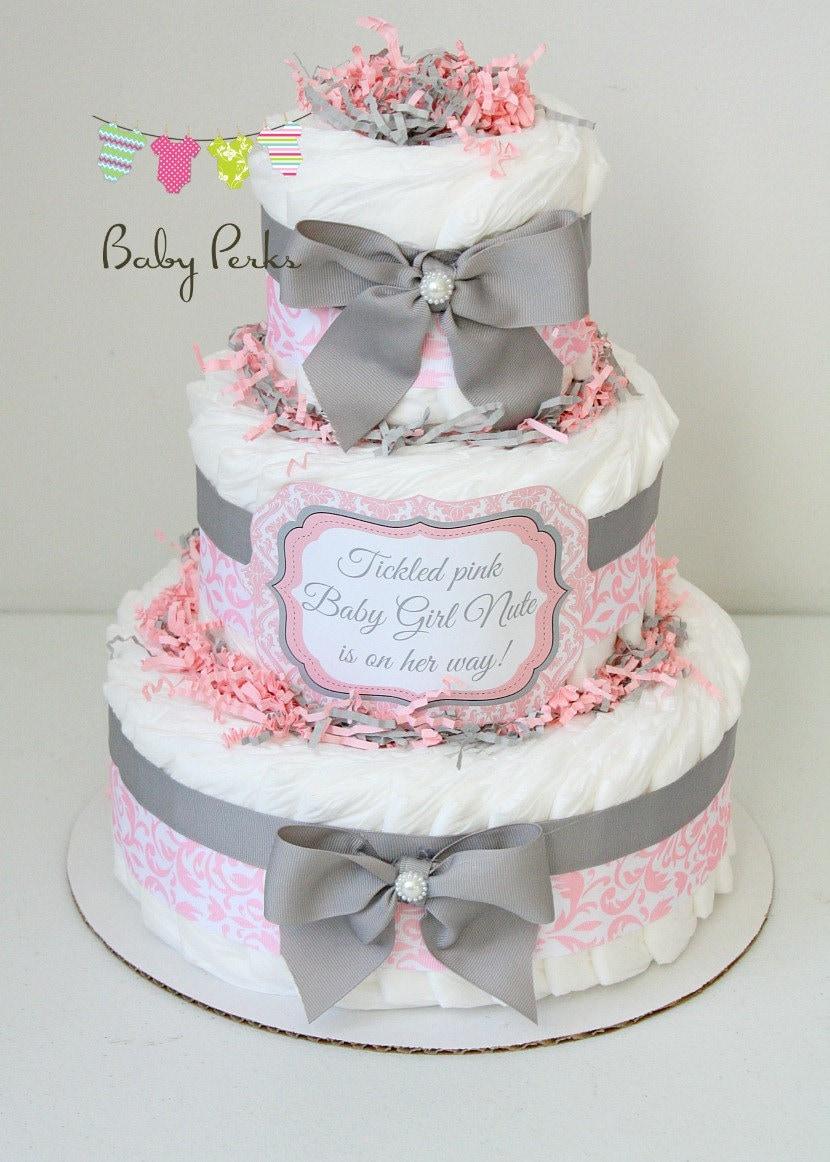 Baby Girl Damask Pink & Gray Diaper Cake Baby Shower