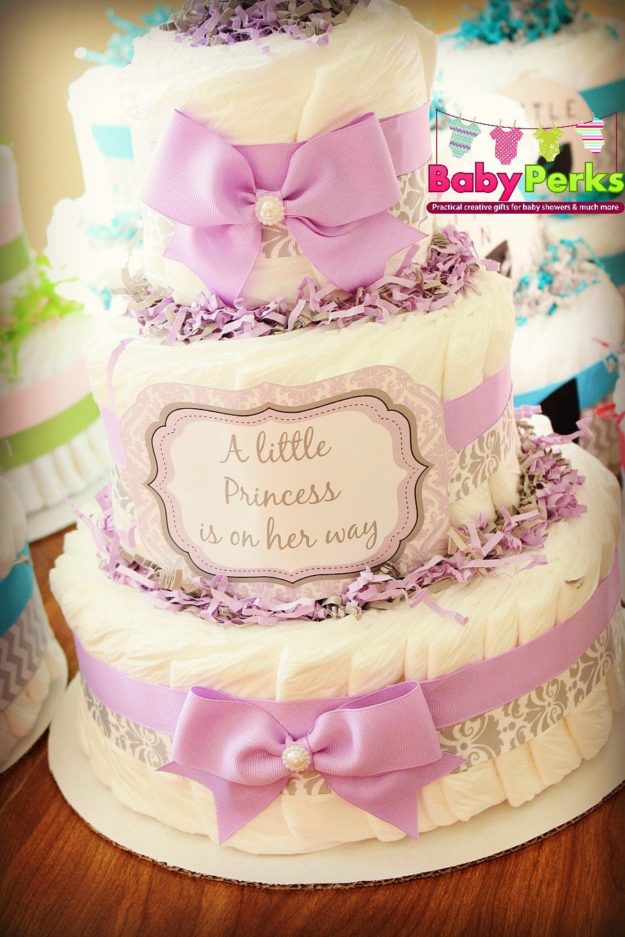 Purple Damask Diaper Cake Lavender and Grey Baby Shower   Etsy