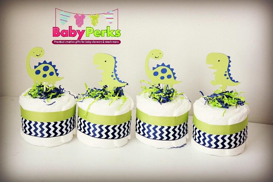 4 Dinosaur Diaper Cakes Baby Shower Centerpiece Baby Etsy