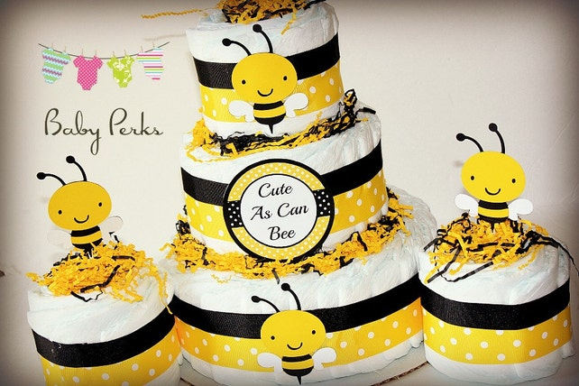 Bumble Bee Diaper Cake Mother To Bee Baby Shower Baby Etsy