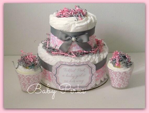 Items Similar To Pink Damask Diaper Cake Pink And Grey