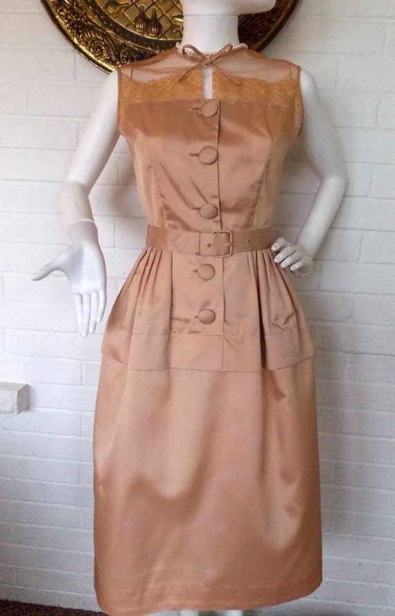 50's Champagne Pink Belted Cocktail Shirt Dress by