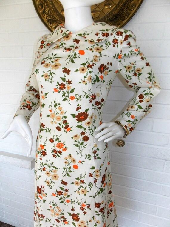 60's Floral Peter Pan Collar Shift Dress - L