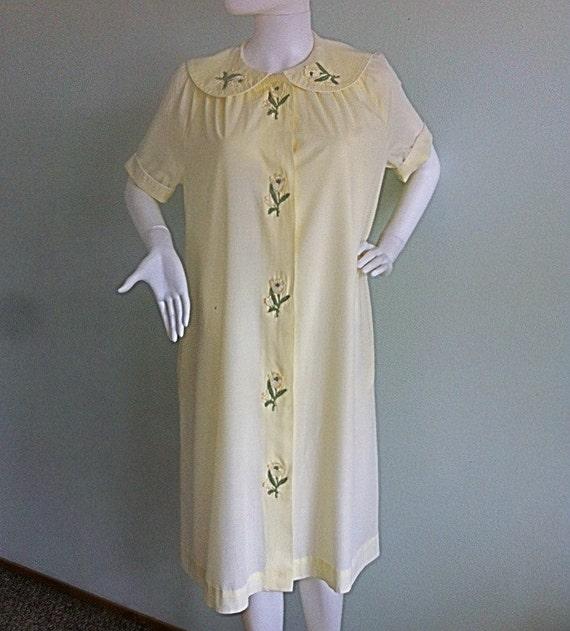 1960s Yellow Dress - Peter Pan Collar - Cover- Up