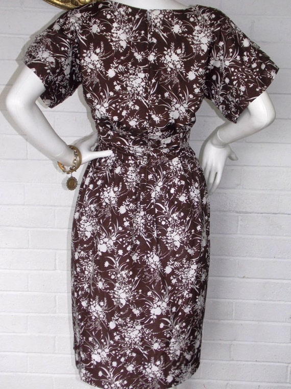 60's Chocolate Brown Floral Day Dress
