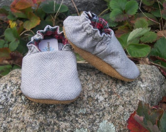 Flannel Baby slip on shoes--Light Gray Herringbone cotton--boy--holiday--Christmas