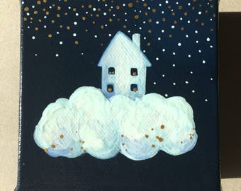 Cloud house painting on mini canvas