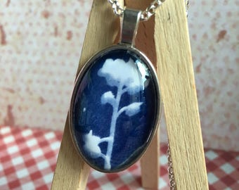 Cyanotype print necklace