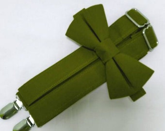 Olive Suspenders and Olive Bow Tie Set. Bridal Color Olive Green. Sizes Infant-Adult. Free Fabric Sample Available