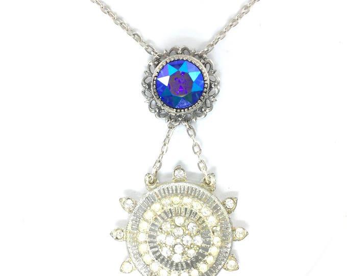 Vintage Deco Brooch Necklace Aurora Borelais Blue Rhinestones Silver Boho