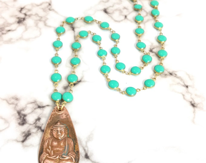 Vintage Copper Brass Buddha Pendant Necklace Blue Turquoise Enamel Coin Chain