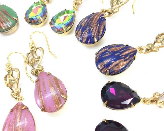 BLUE Vintage Rhinestone Earrings Copper Metallic Pear Teardrop Glass Deco Brass
