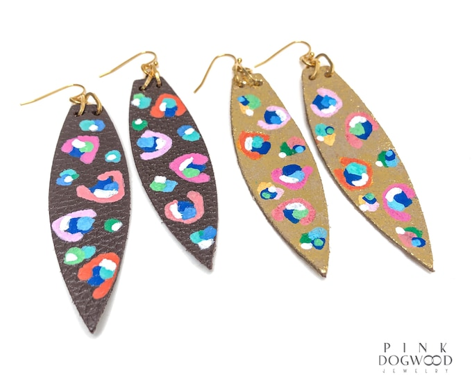 Spring 2021 Collaboration Sarah Farrar Art Painted Leather Earrings Semi Precious Gemstone One of a Kind Limited Series