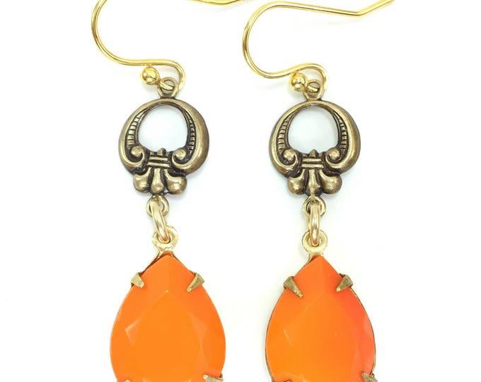 Vintage Rhinestone Earrings ORANGE Pear Faceted Glass Scroll Deco Design Brass