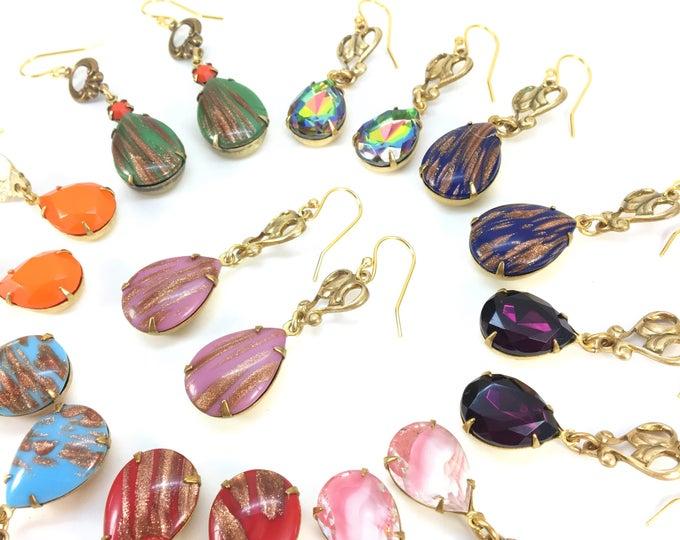 PURPLE Vintage Rhinestone Earrings Pear Teardrop Faceted Glass Deco Brass