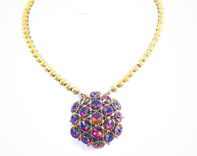Vintage Rivoli Rhinestone Brooch Necklace Vitrail Pink Green Blue Yellow Gold Beads Boho