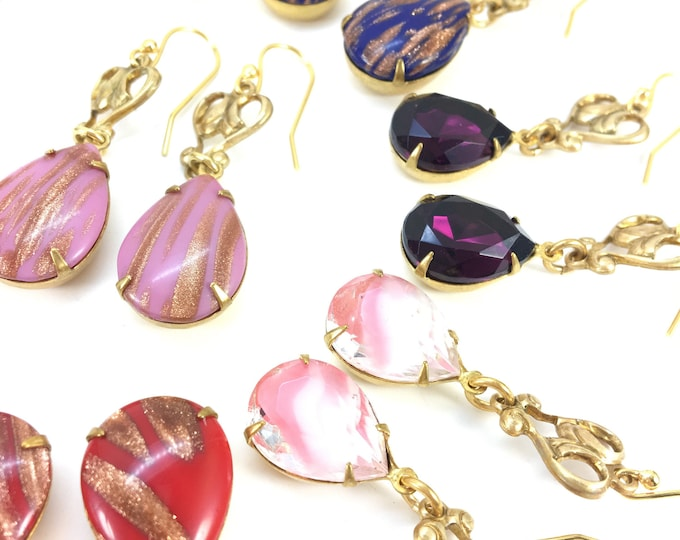 PINK WHITE Vintage Rhinestone Earrings Pear Teardrop Faceted Givre Glass Deco Brass