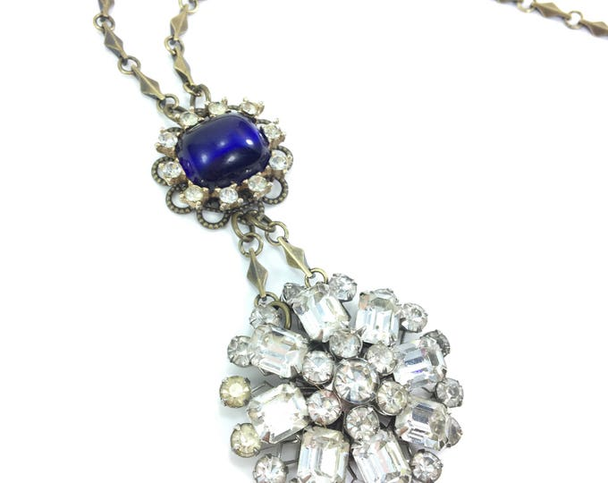 Vintage Rhinestone Brooch Necklace with Sapphire Blue Cabochon Stone Filigree