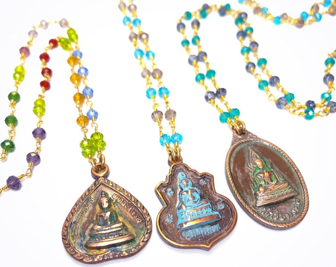 Vintage Buddha Lucky Charm Amulet Pendant Necklace Glass Rosary Beads