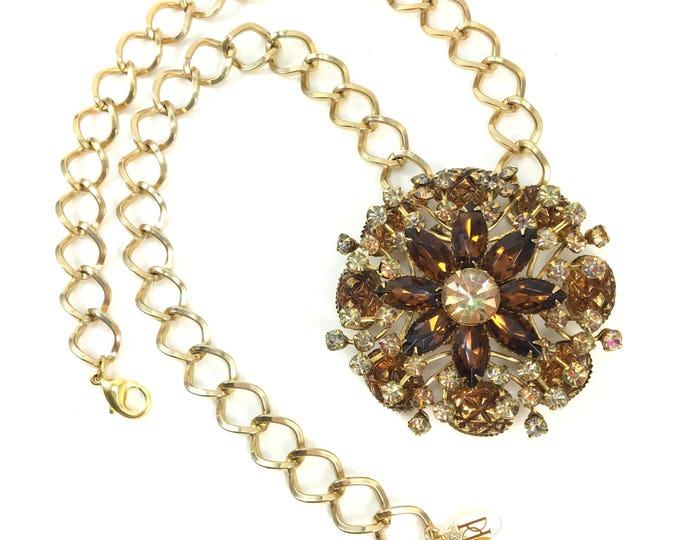 Vintage Aurora Borealis Topaz Rhinestone Brooch Necklace Gold Link Chain