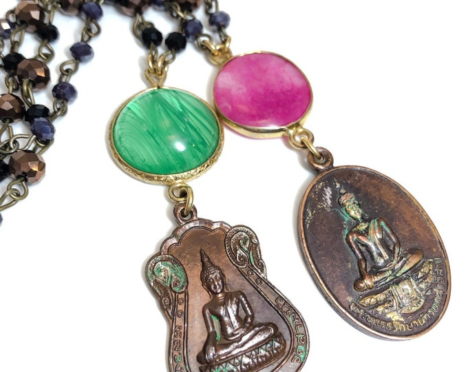 Vintage Buddha Lucky Charm Amulet Pendant Necklace Glass Beads Stone Cabochon Pink Green