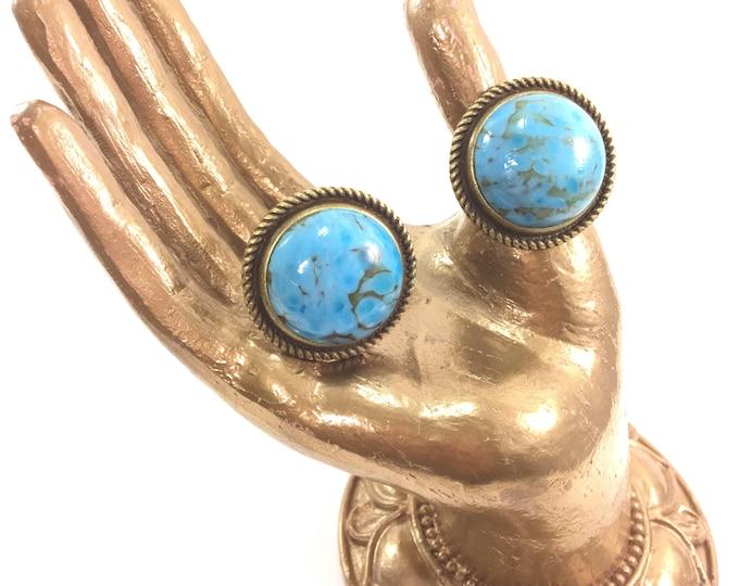 Vintage Medium Turquoise Ring Cabochon Glass Adjustable Brass Bezel Boho Chic
