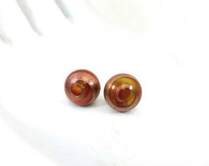 RED Vintage Glass Button Stud Earrings Gold Adventurina Round Cabochon