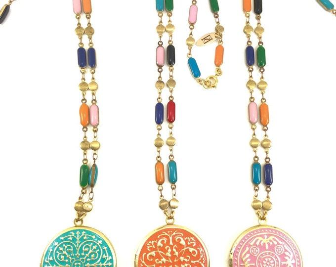Hand Painted Brass Locket Vintage Enamel Necklace Style: Victorian Floral Vines Birds Blue Orange Pink