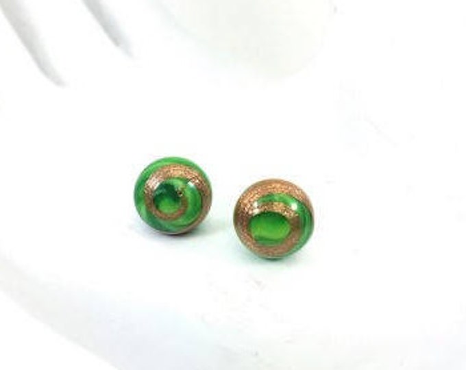 GREEN Vintage Glass Button Stud Earrings Gold Adventurina Round Cabochon
