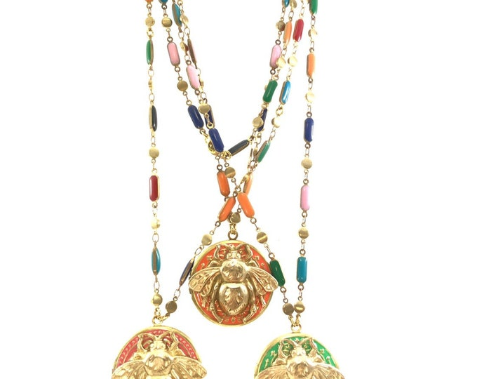 Hand Painted Locket Vintage Enamel Necklace Style: Brass Bee Coral Pink Orange Green