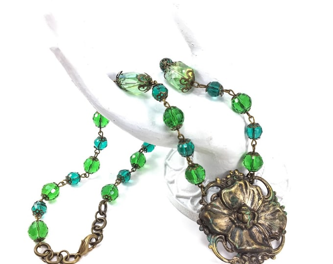Vintage Brass Flower Dogwood Necklace with Green Glass Filigree Beads