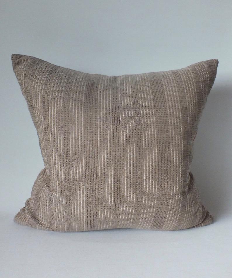Brown Cream  Striped Sashiko Pillow Cover Throw decorative Pillows  Ethnic Cushions case Accent Pillow Boho chic Sofa floor pillowcase