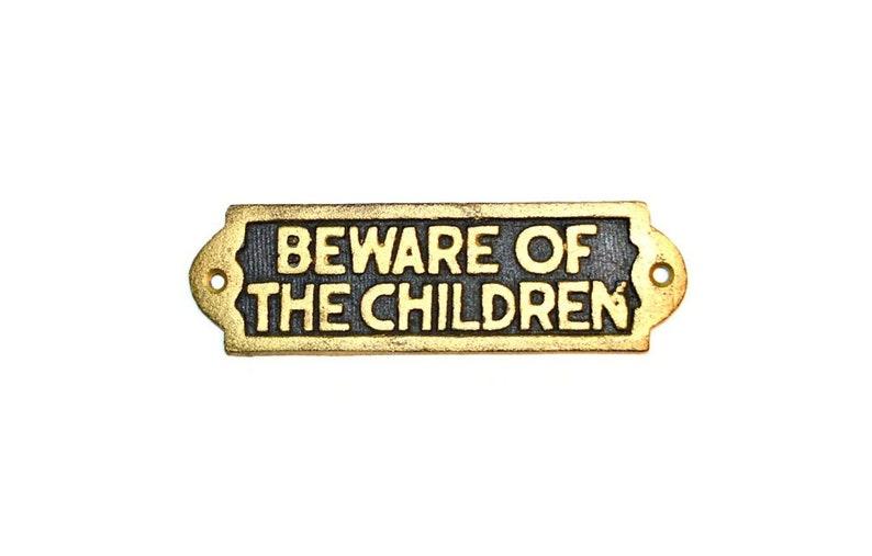 Cast Iron Children Plaque Sign Wall