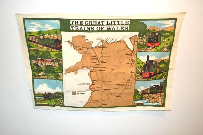 Locomotives Trains of Wales Linen Towel Ireland Vintage