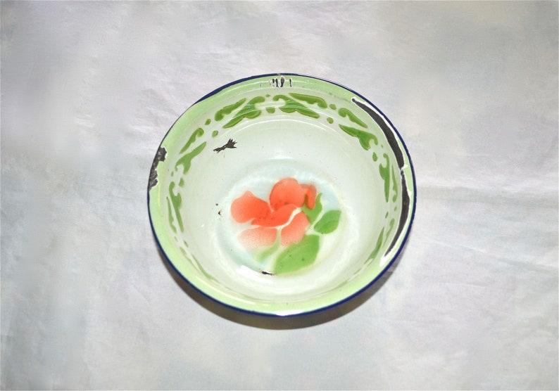 1940s Porcelain Enamel Floral Bowls Set of Three