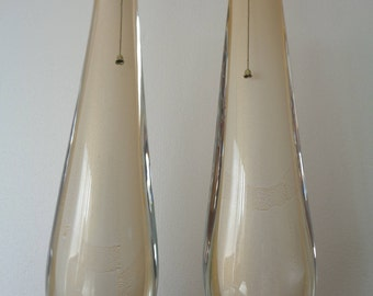 superb white & gold murano glass lamps pair
