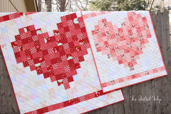 PDF Pattern - Double the Love: A Pixelated Heart Quilt by The Quilted Tulip - 2 sizes - Heart Valentine's Day Love Baby Wedding Gift