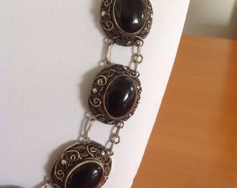Vintage antique chinese necklace silver filegree with black agate .
