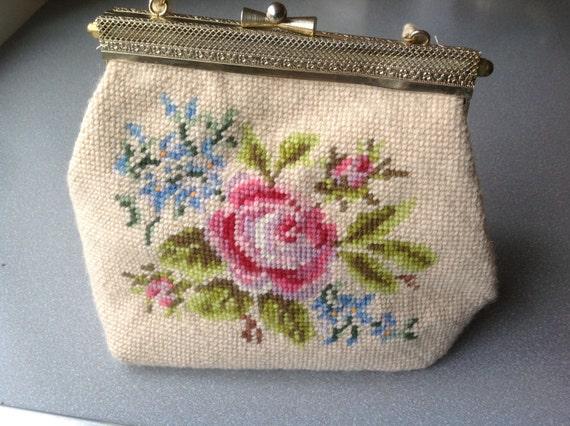 Vintage Hand Made Hand Embroidery Purse Handbag Etsy