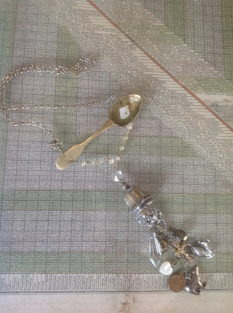 Recycled upcycled vintage necklace assamblage  art