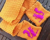 Hand Knitted Squirrel Pocket Scarf