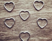 Luxury Sterling Silver Heart Shaped Stitch Markers - fits up to 6mm (US10) size knitting needles
