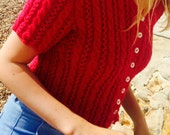Cropped Cable Cardigan Knitting Pattern  (PDF File)