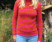 Cable and Rib Striped Sweater Knitting Pattern (PDF File)
