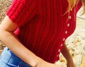 Cropped Cable Cardigan Knitting Pattern  (PDF File)