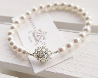 Pearl bridal bracelet, custom colours available, pearl wedding bracelet, wedding jewelry, bridal jewellery, brides bracelet