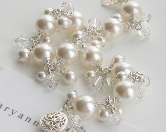 Crystal and pearl charmed bridal bracelet, pearl wedding bracelet, wedding jewelry, bridal jewellery, brides bracelet