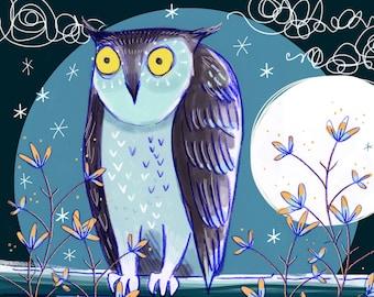 "Giclee print -  Night Owl 8 x 8"""