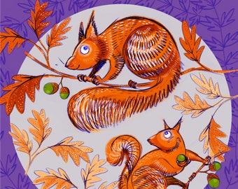 "Giclee print -  Woodland Squirrels 8 x 8"""